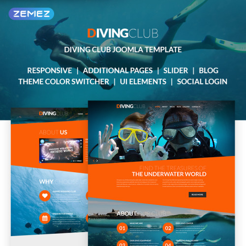 Diving Club  - Joomla! Template based on Bootstrap