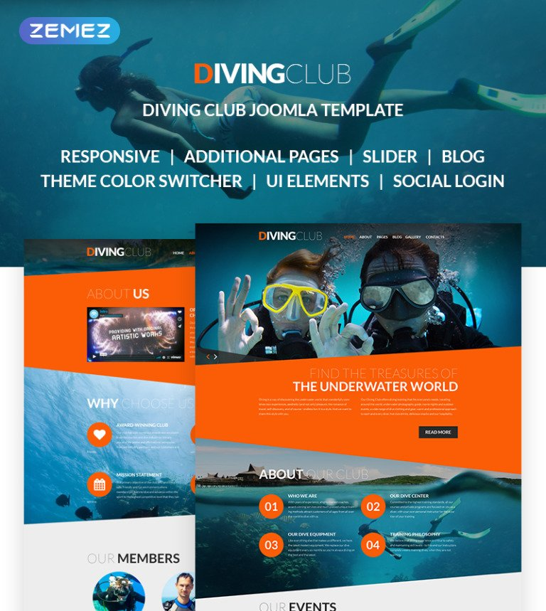 Diving Club - Sports & Outdoors & Diving Responsive Joomla Template