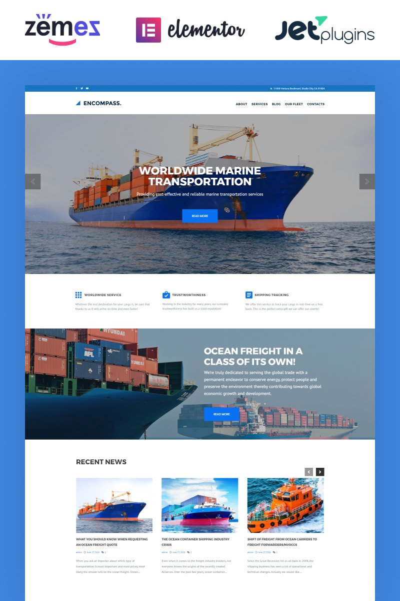 """Encompass - Transportation Maritime"" Responsive WordPress thema №61223 - screenshot"