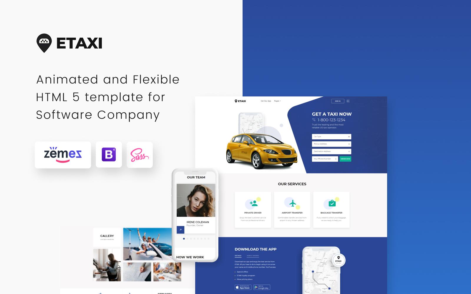 """Etaxi - Taxi Company Responsive"" Responsive Website template №61233"