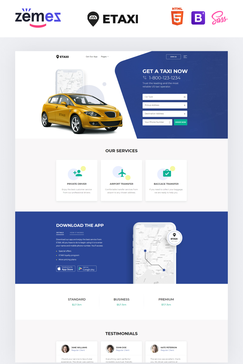 """Etaxi - Taxi Service Multipage Classic HTML"" 响应式网页模板 #61233"