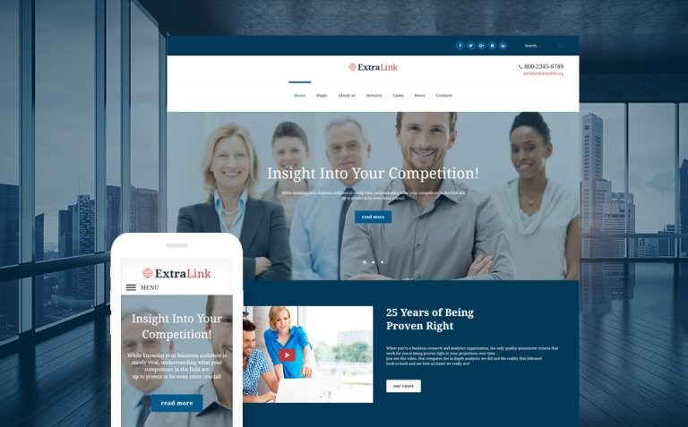 ExtraLink - Business Research and Analytics Agency WordPress Theme New Screenshots BIG