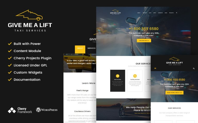 Give Me A Lift - Transportation & Taxi Services WordPress Theme New Screenshots BIG