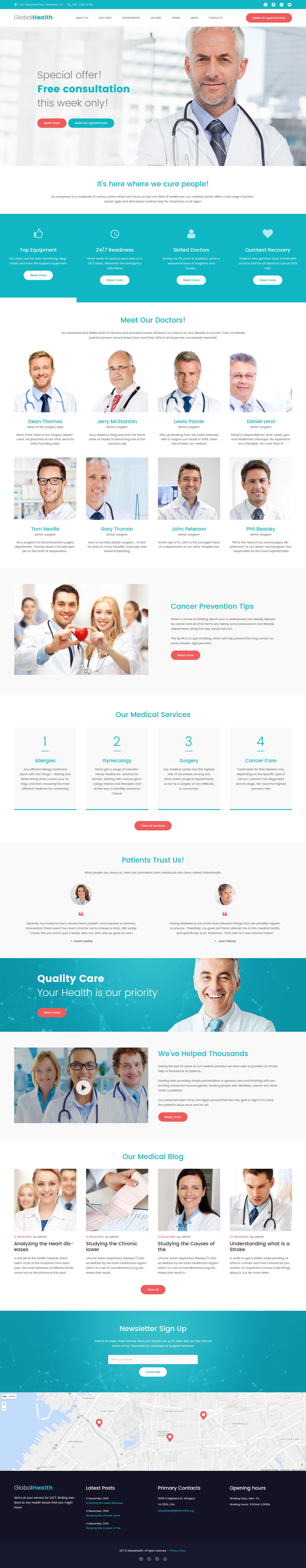 """GlobalHealth - Doctor & Medical"" - адаптивний WordPress шаблон №61240"
