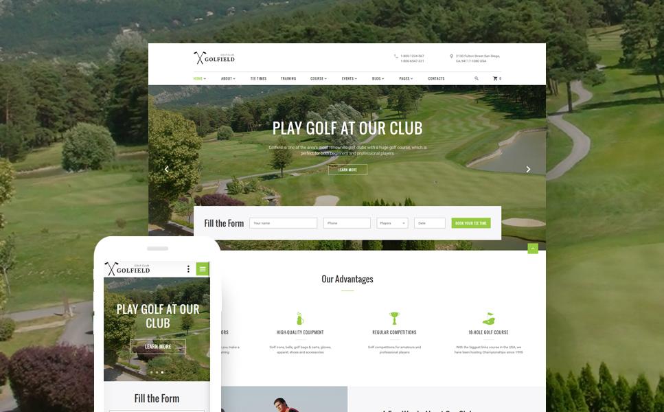 HTML шаблон для сайта гольф клуба