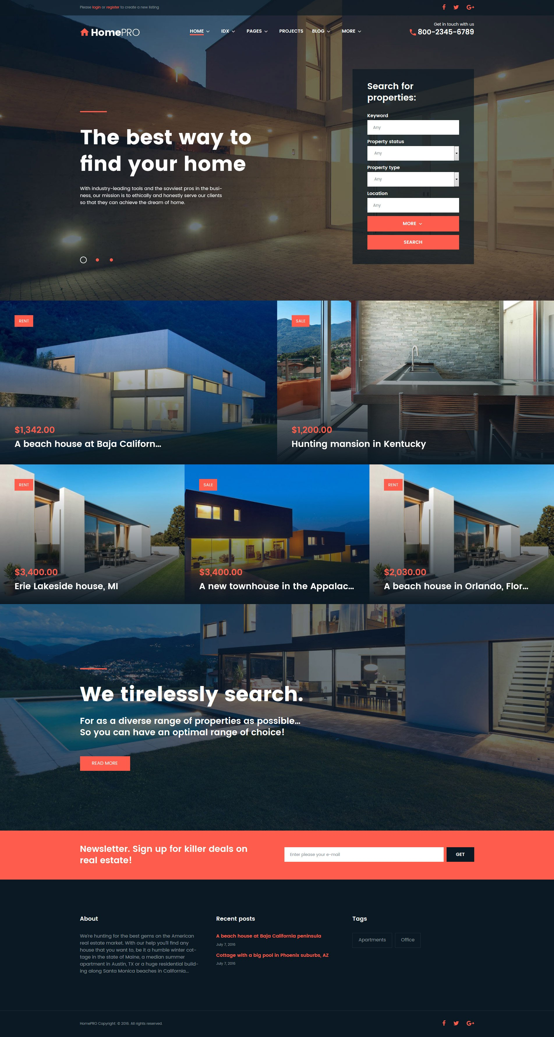 HomePro Real Estate Portal WordPress Theme - screenshot