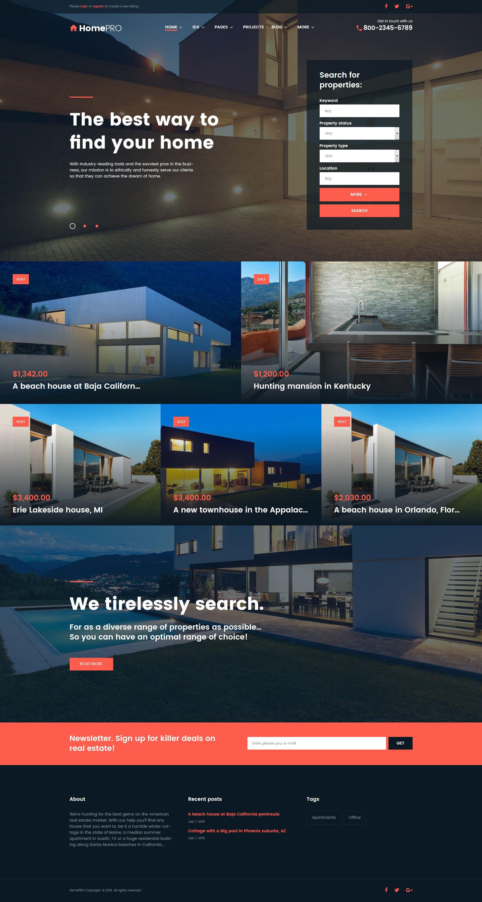"""HomePro Real Estate Portal"" 响应式WordPress模板 #61275"