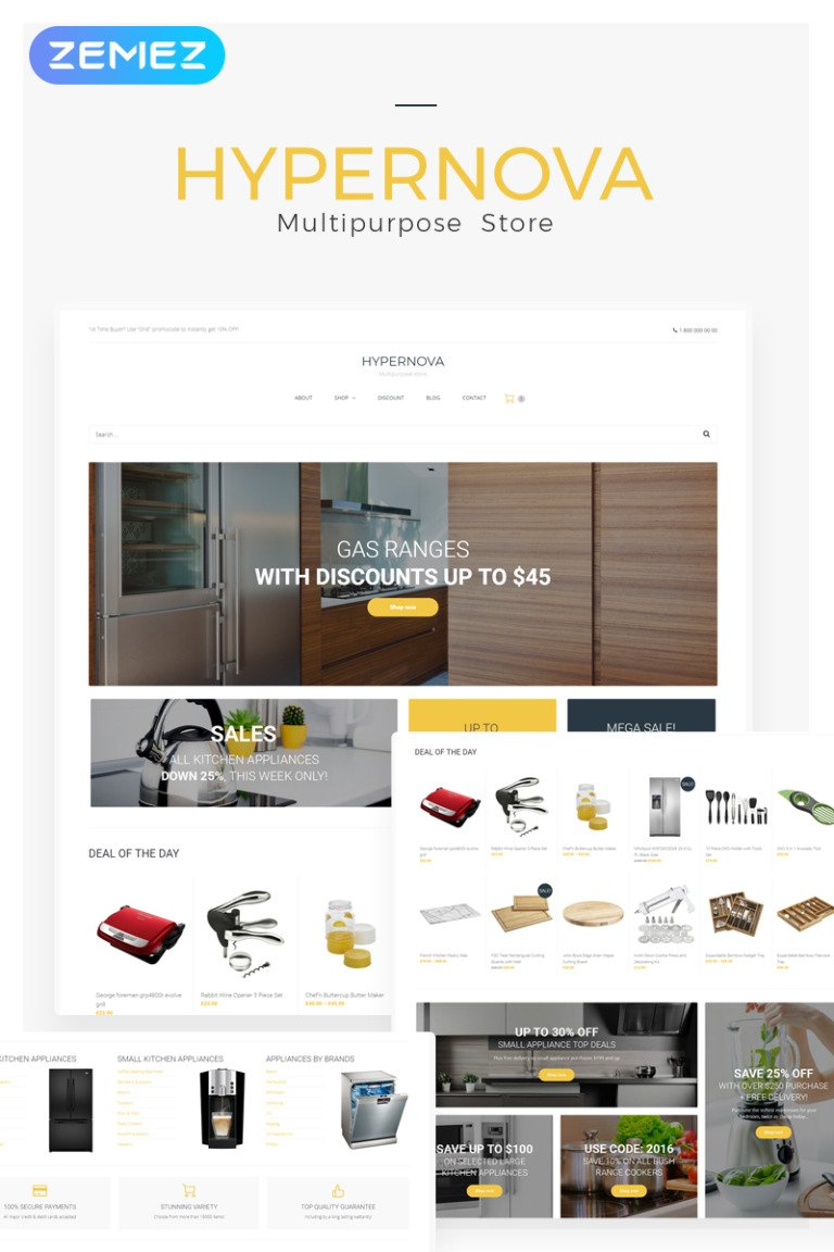 Hypernova - Multipurpose Store Responsive WooCommerce Theme New Screenshots BIG