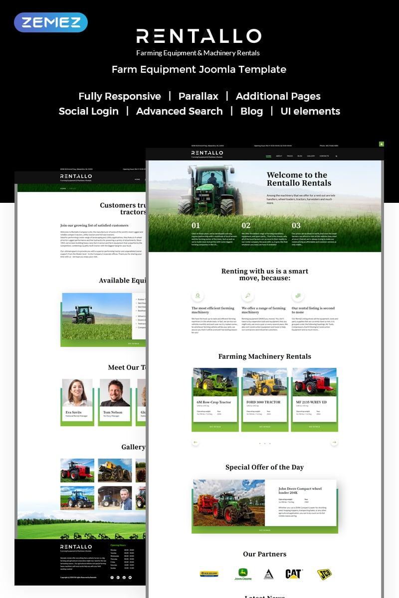 "Joomla Vorlage namens ""Rentallo - Farm Equipment"" #61204"