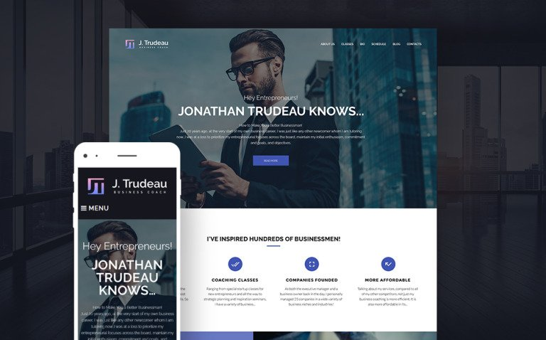 J.Trudeau - Business Coach WordPress Theme New Screenshots BIG