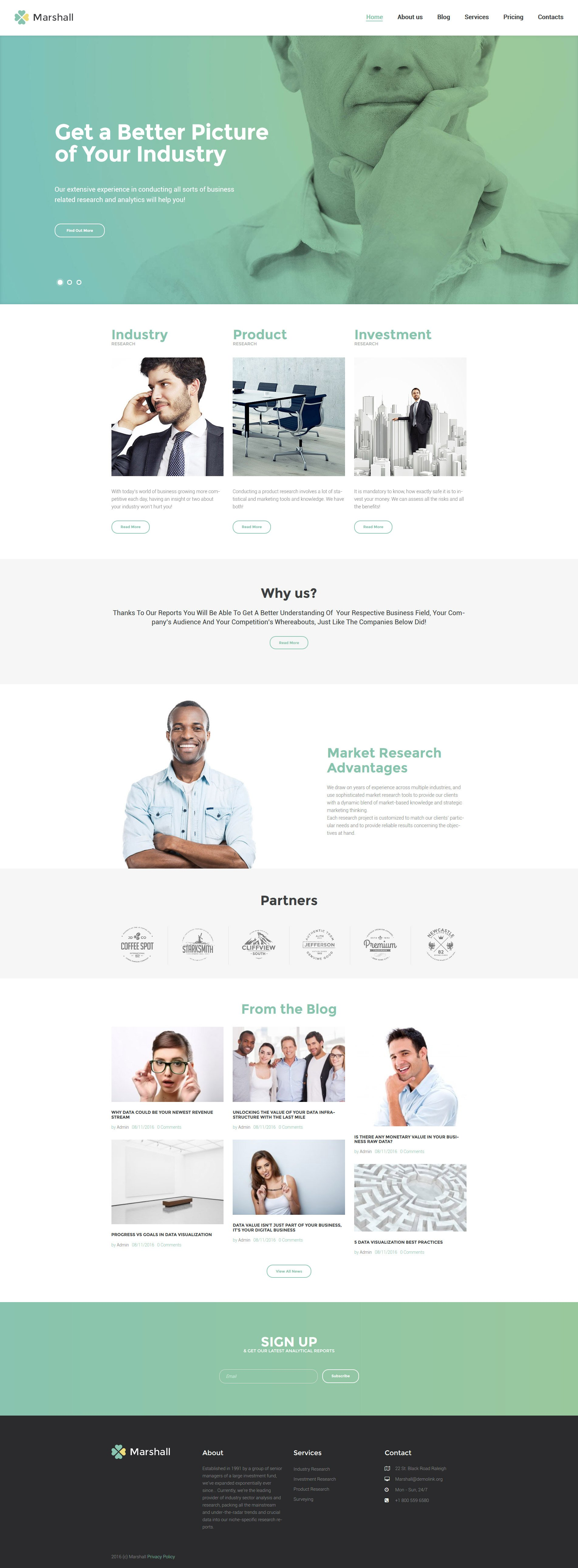 Marshall - Business Analysis and Market Research Agency WordPress Theme - screenshot