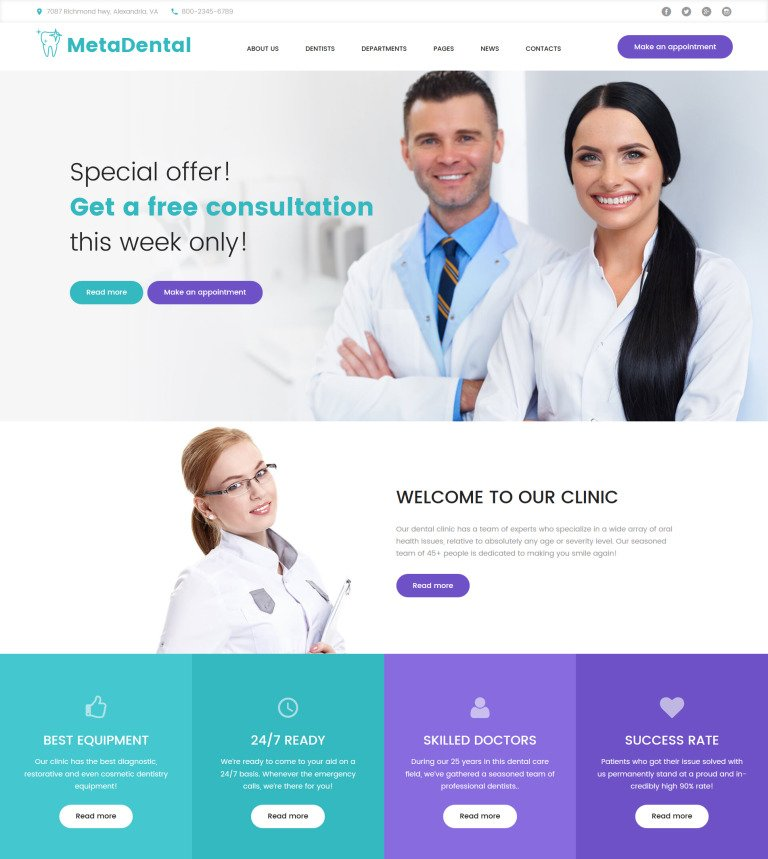 MetaDental - Private Dental Clinic Responsive WordPress Theme