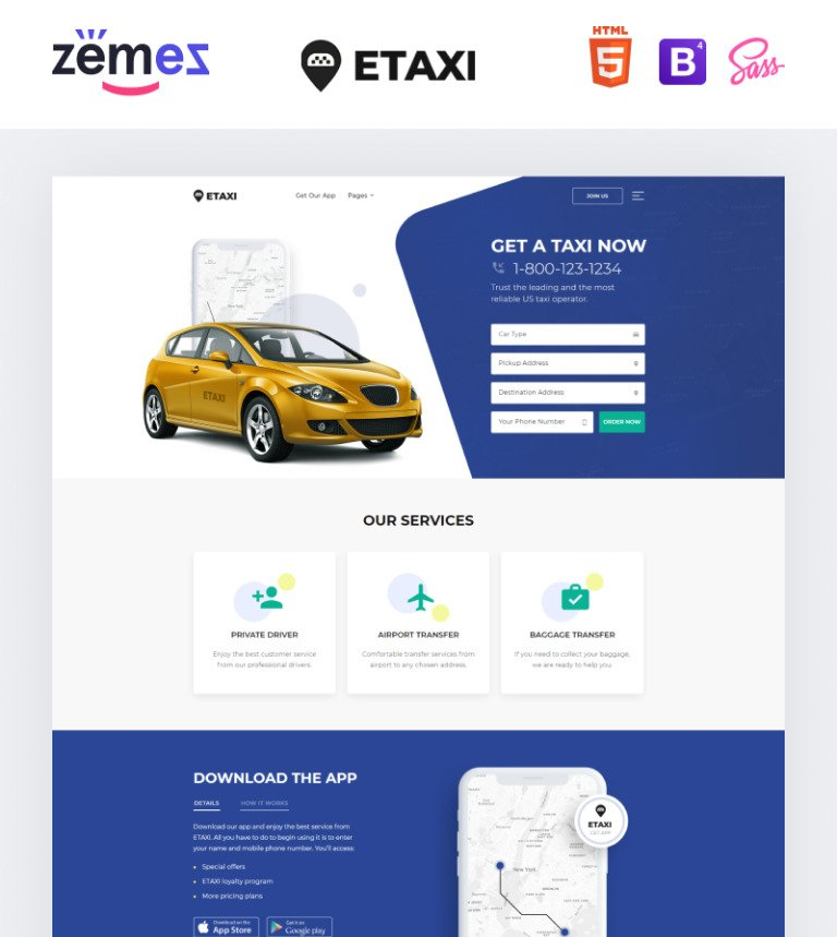 Plantilla Web #61233 para Sitio de Taxi