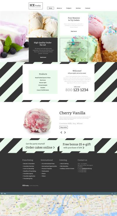 Ice Cream Responsive Moto CMS HTML Sablon