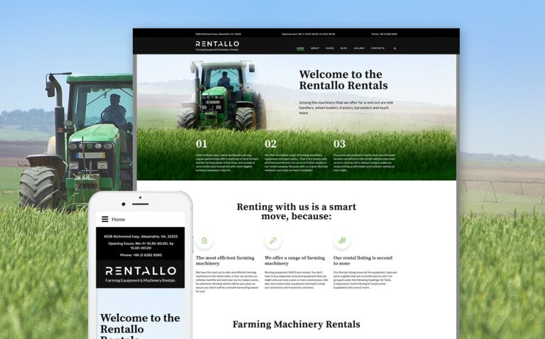 Rentallo - Farm Equipment Joomla Template New Screenshots BIG