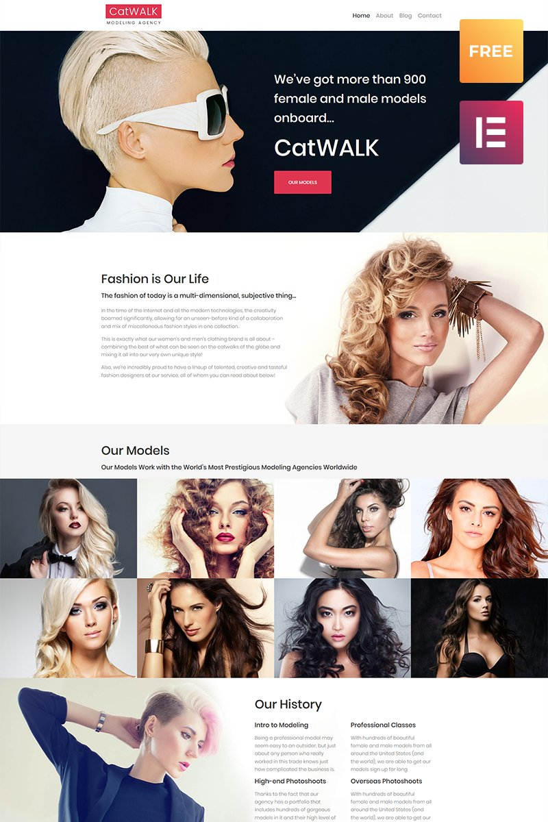 Responsivt Catwalk - Fashion Modeling Agency Responsive WordPress-tema #61202