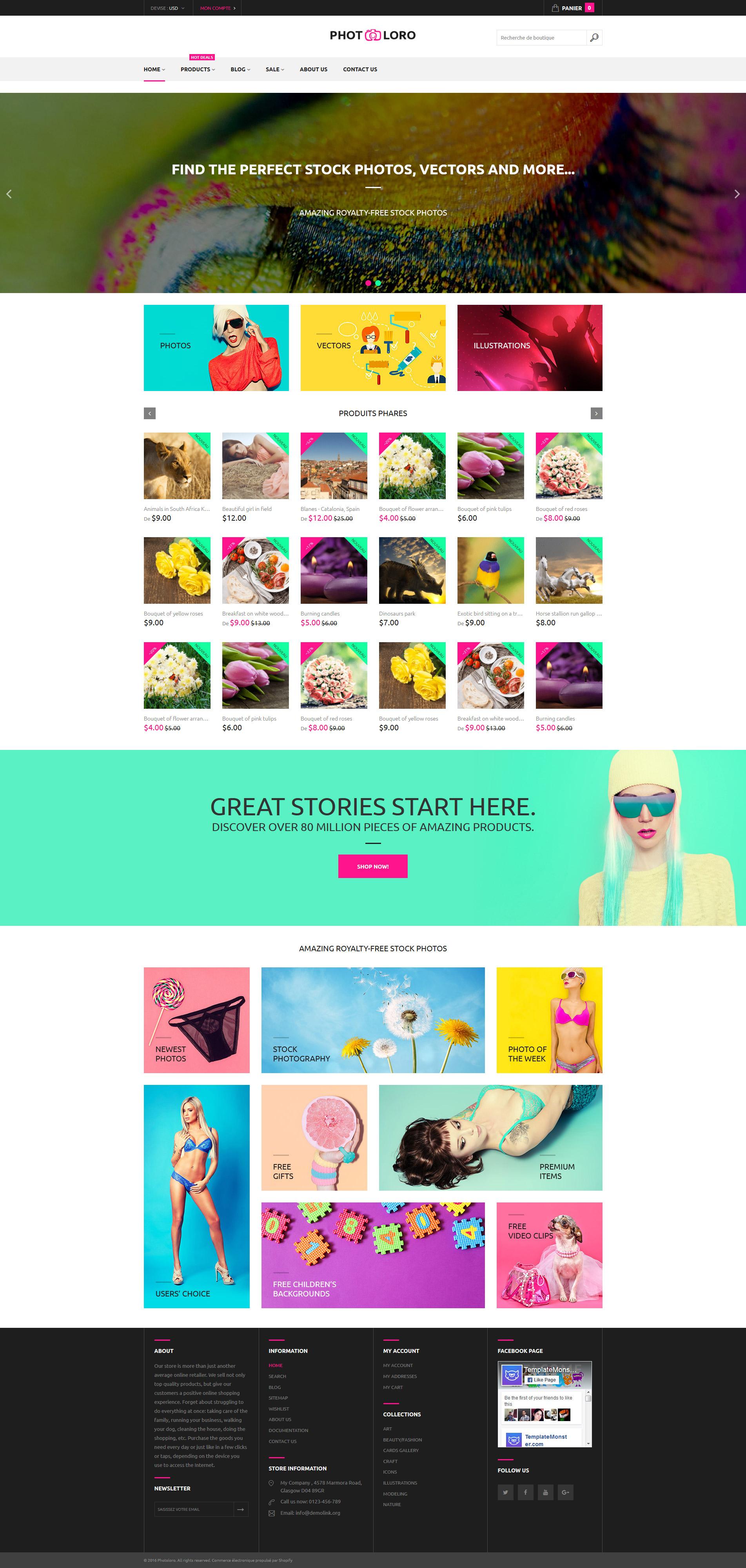 Responsivt PhotoLoro Shopify-tema #61209