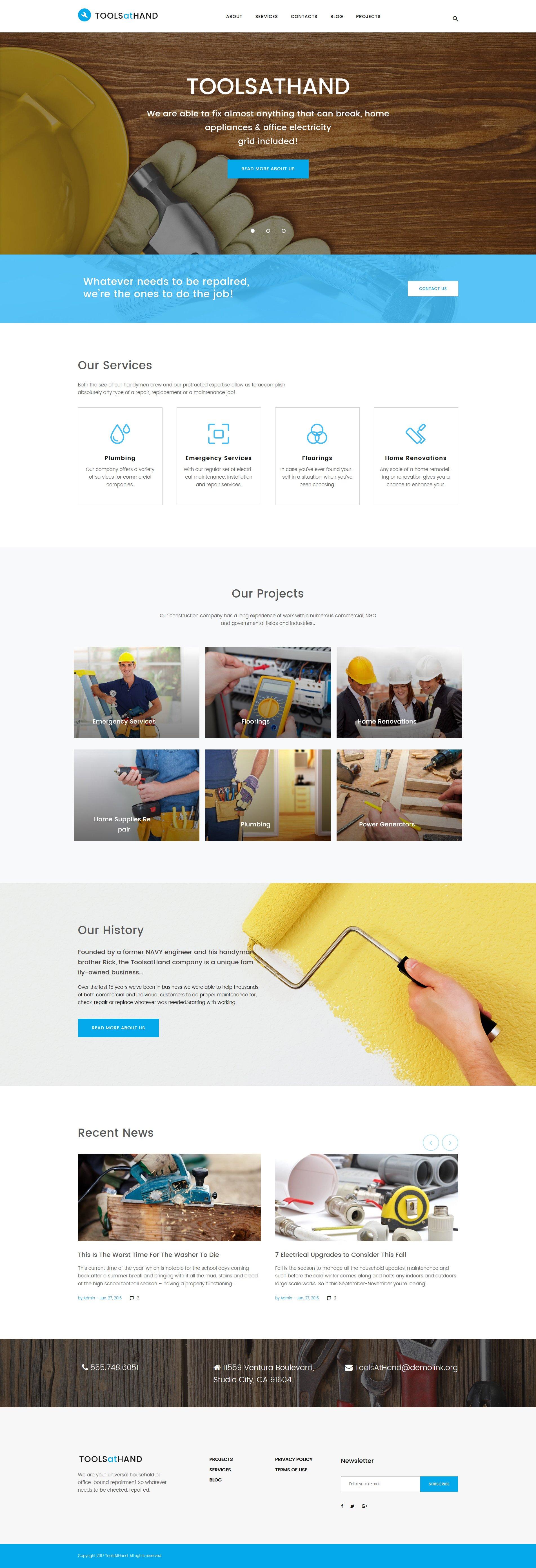 Responsivt Tools At Hand - Handyman & Repair Services WordPress-tema #61221