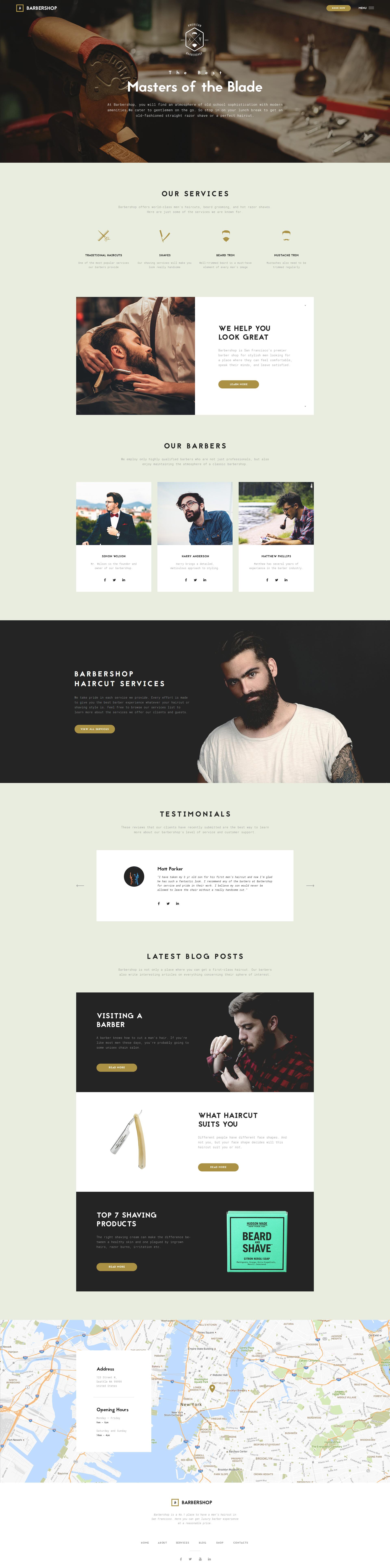 Responsywny szablon strony www Barbershop #61206