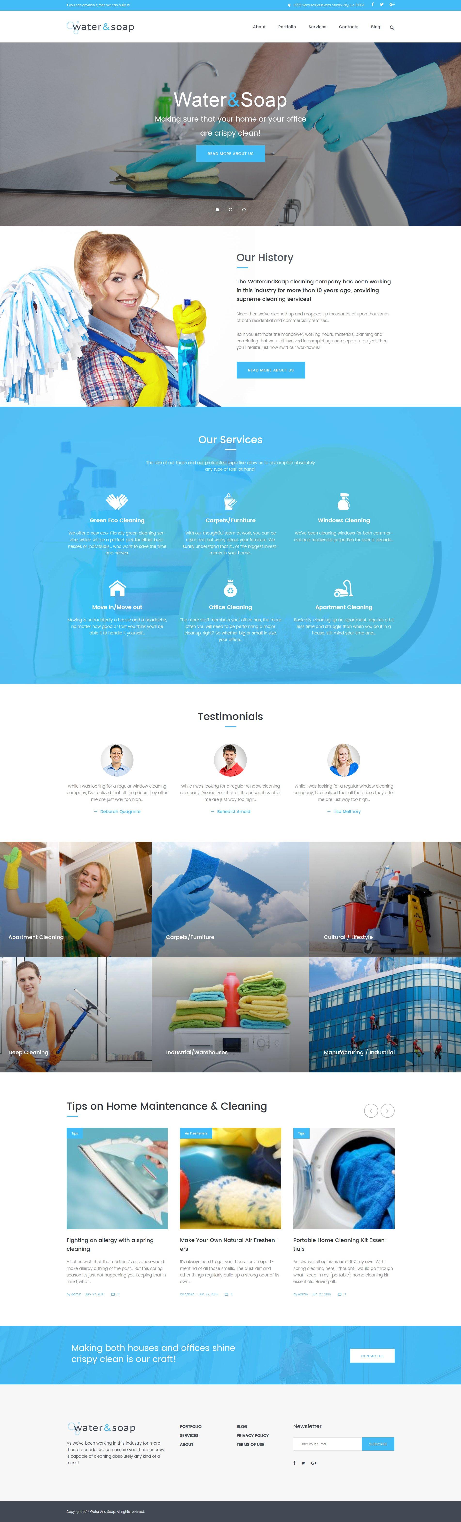 """Responzivní WordPress motiv """"Water And Soap - Cleaning Service Company"""" #61220"""