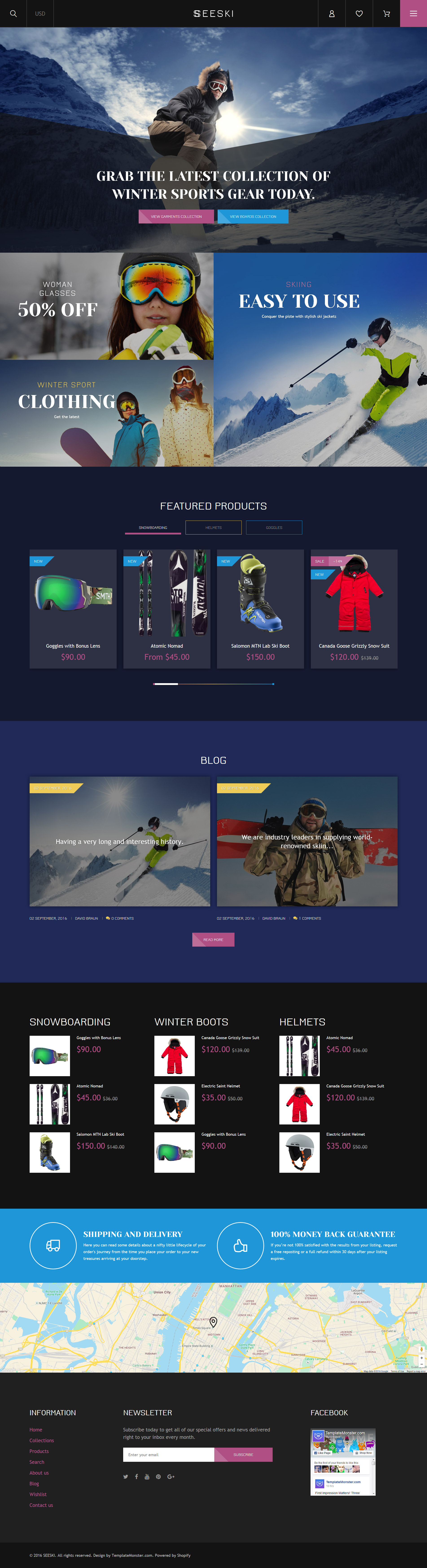 """""""Skiing Responsive"""" 响应式Shopify模板 #61217"""