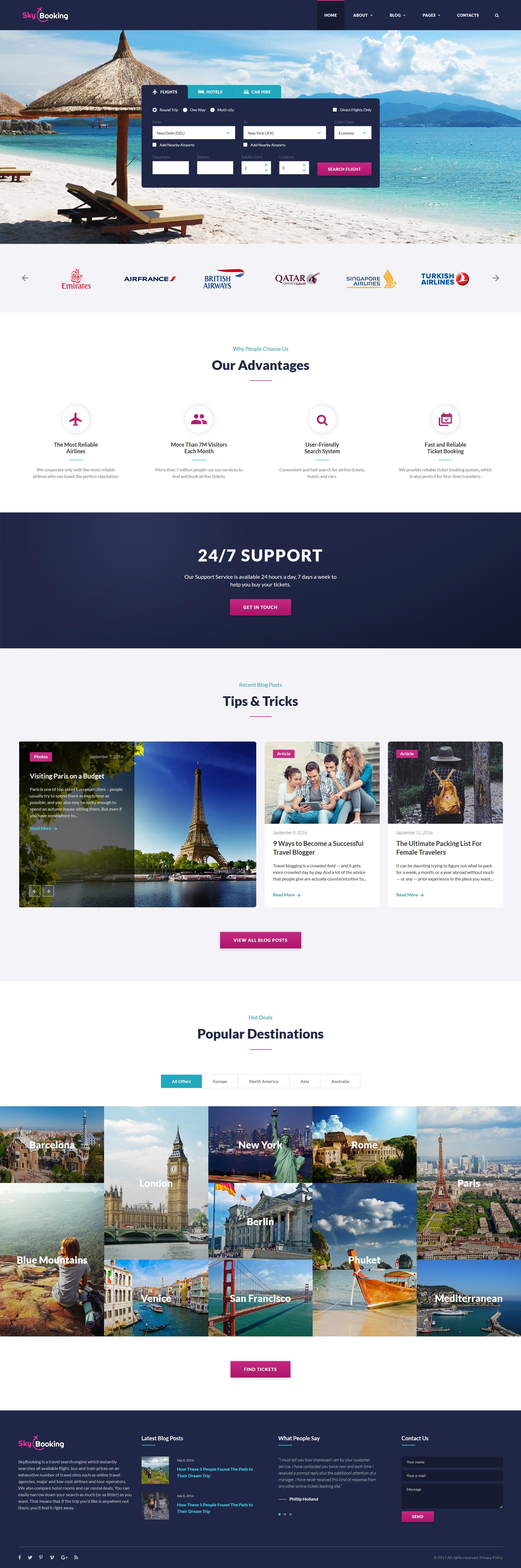 """""""Sky Booking - Travel Online Multipage"""" - адаптивний Шаблон сайту №61270"""