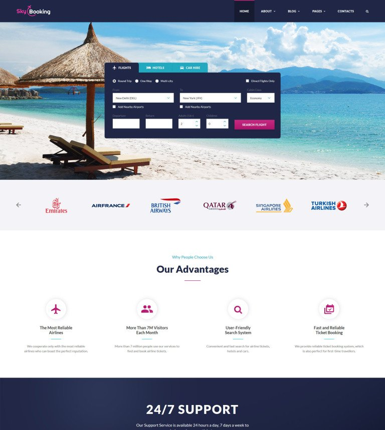 SkyBooking Online Travel Agency Bootstrap Template - Booking website template