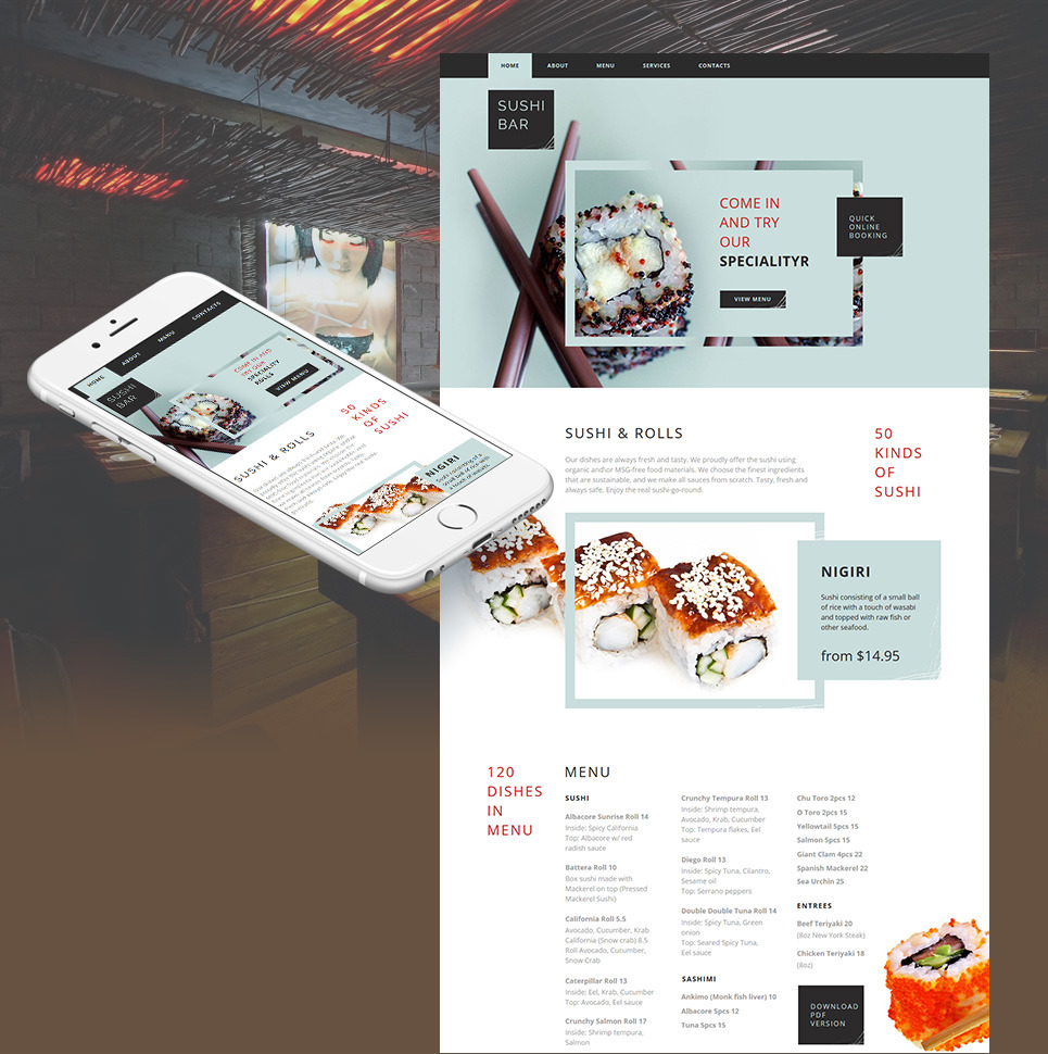 Sushi Bar Moto CMS HTML Template New Screenshots BIG