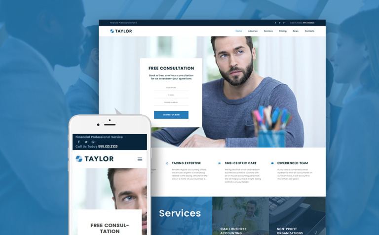 Taylor - Financial Accounting WordPress Theme New Screenshots BIG
