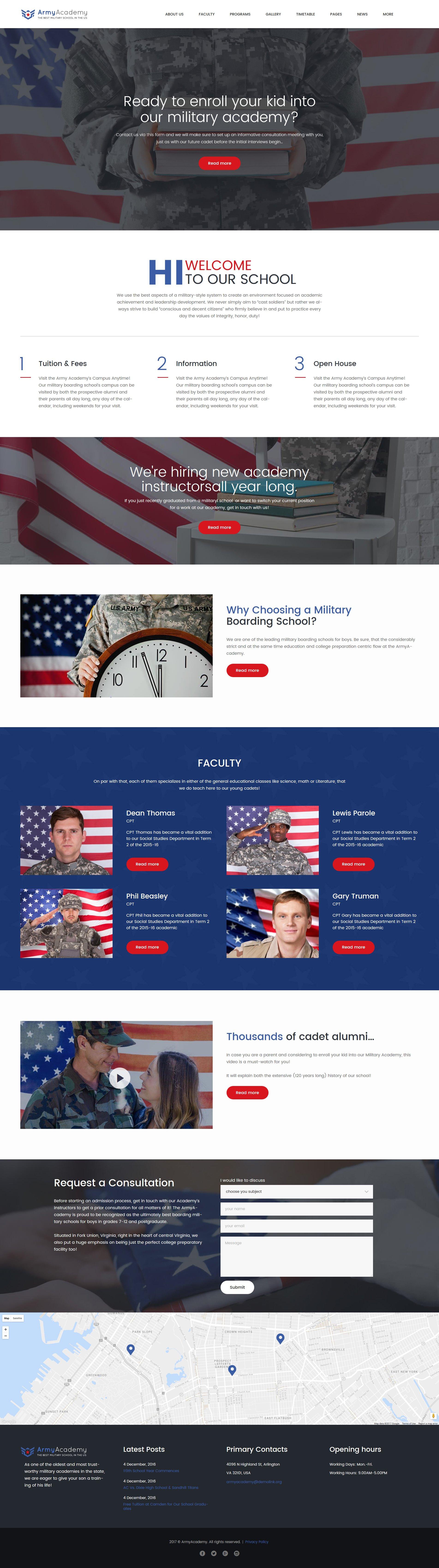 """Tema De WordPress """"Army - Military Academy"""" #61244"""