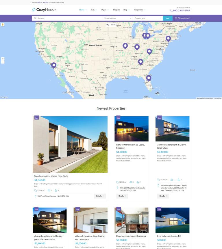 Tema de WordPress #61222 para Sitio de Agencias inmobiliarias