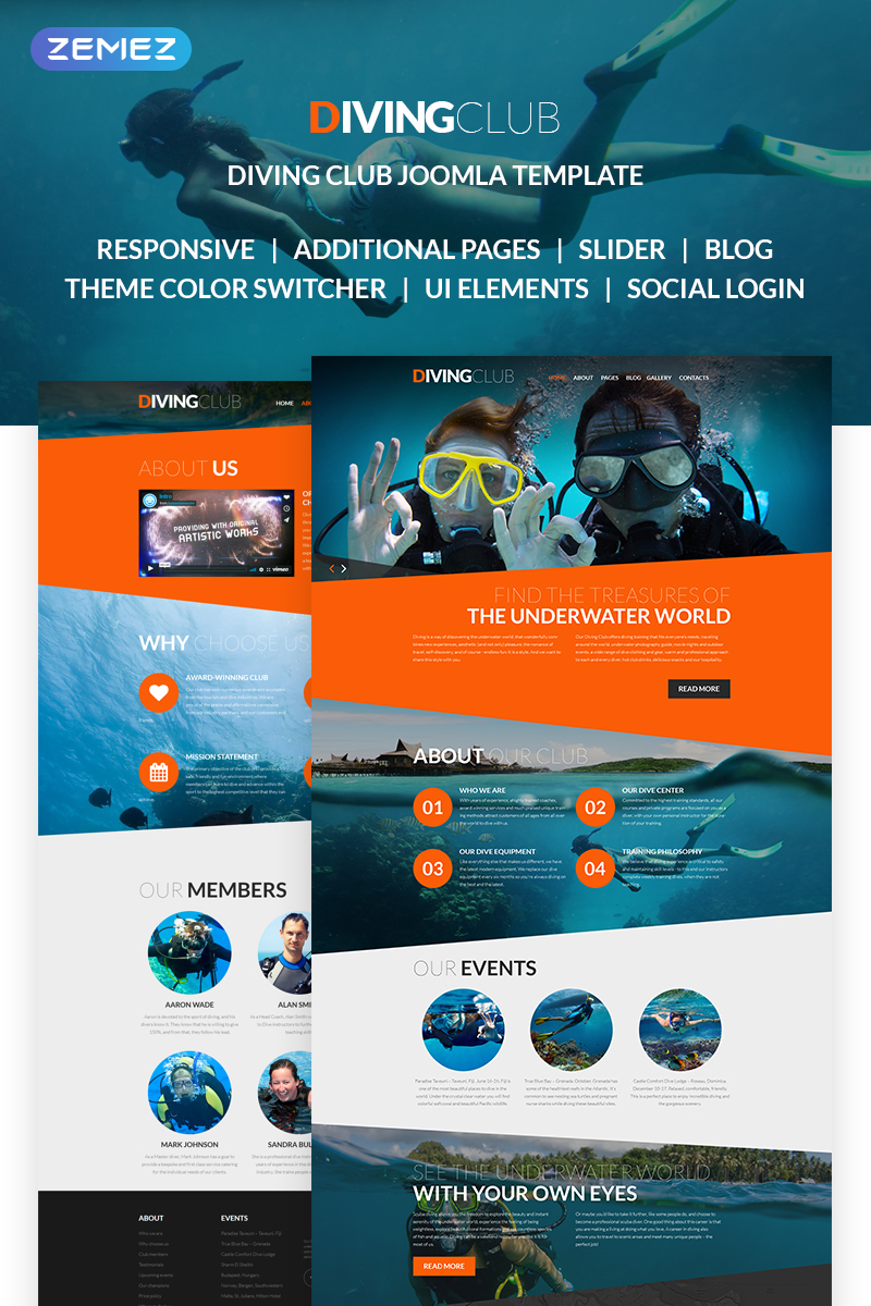 "Tema Joomla Responsive #61260 ""Diving Club - Sports & Outdoors & Diving Responsive"""