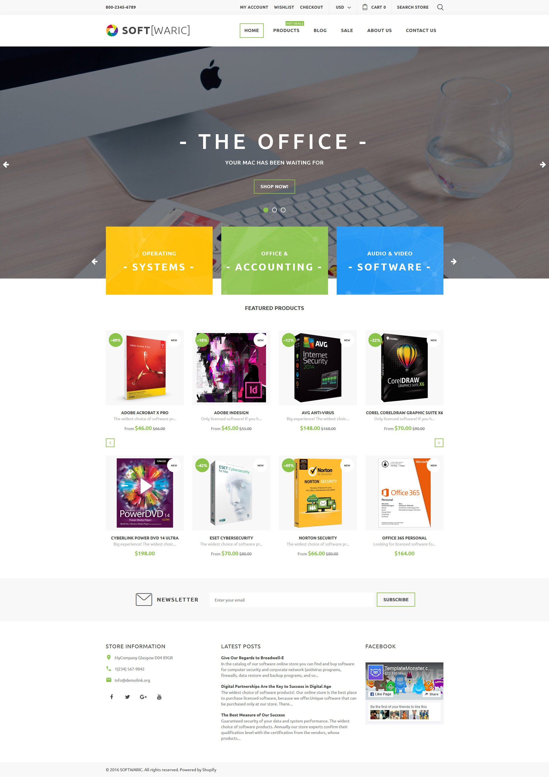 """Tema Shopify """"Software Store Responsive"""" #61210"""