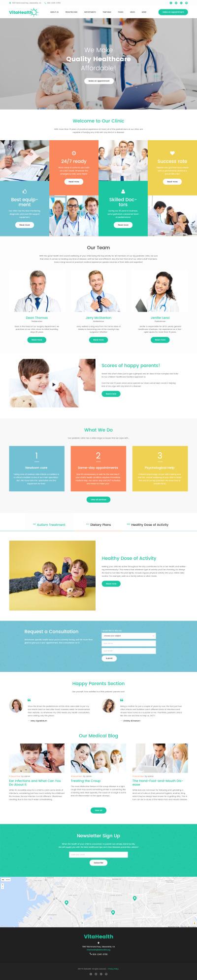 Tema WordPress Flexível para Sites de Pediatra №61242 #61242