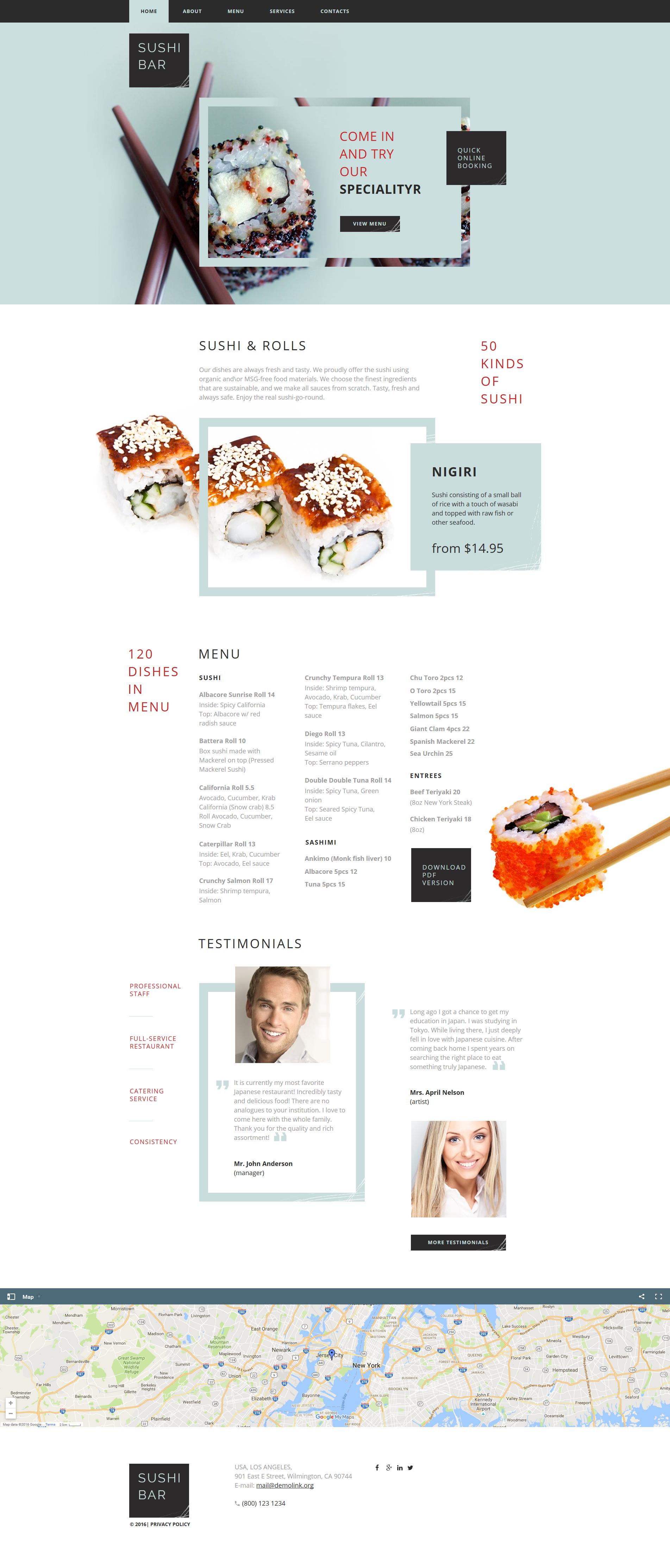 Template Moto CMS HTML #61297 per Un Sito di Sushi Bar