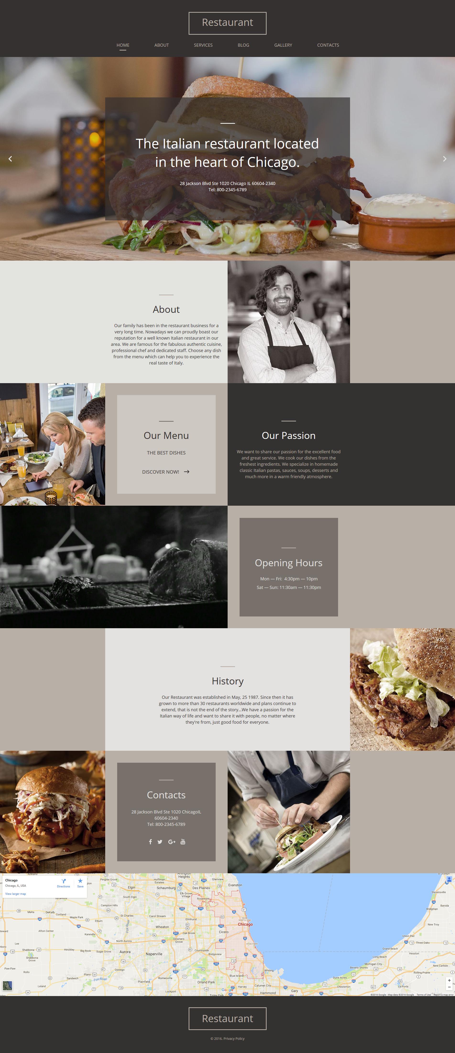 Template Moto CMS HTML para Sites de Restaurante Italiano №61293