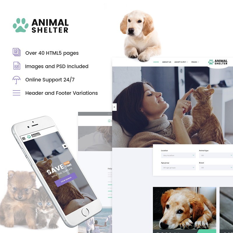 "Template Siti Web Responsive #61279 ""Animal Shelter - Animal Care Responsive"""
