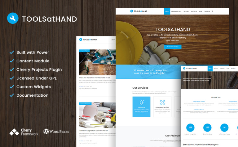 Tools At Hand - Handyman & Repair Services WordPress Theme