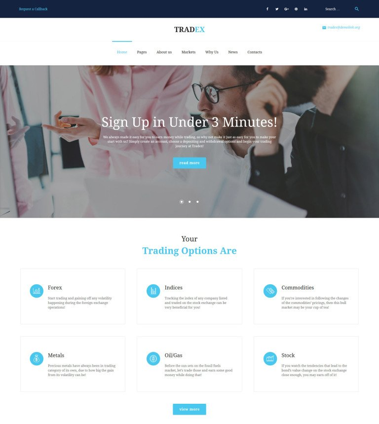 Tradex - Forex Trading WordPress Theme #61298