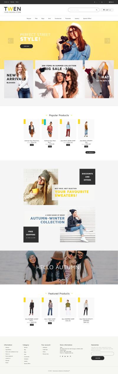 Адаптивный PrestaShop шаблон №61230 на тему модный магазин