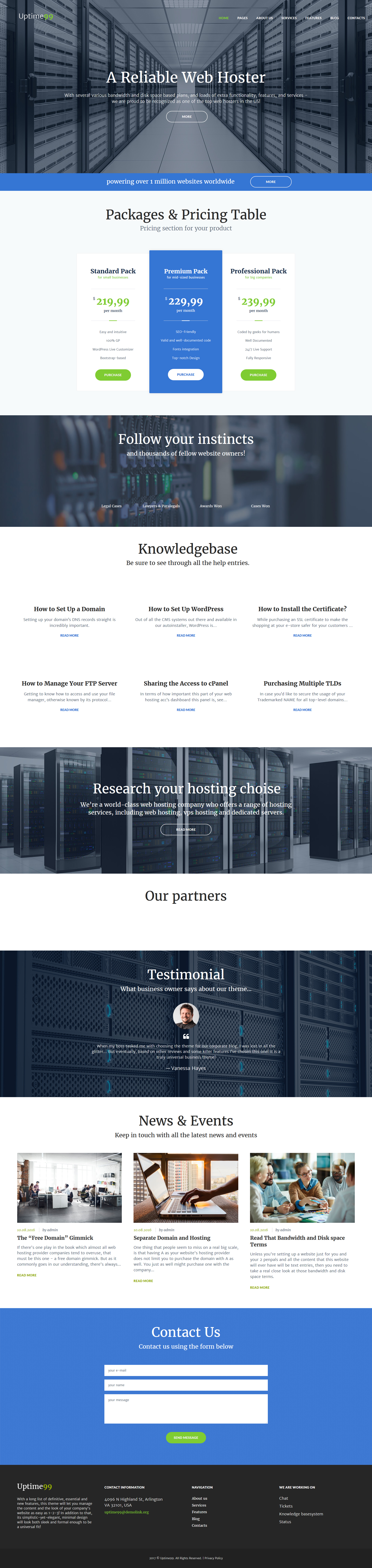 """Uptime99 - Web Hosting"" Responsive WordPress thema №61264 - screenshot"