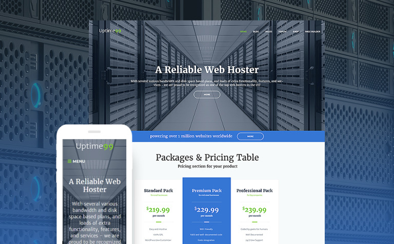 Uptime99 - Web Hosting WordPress Theme New Screenshots BIG