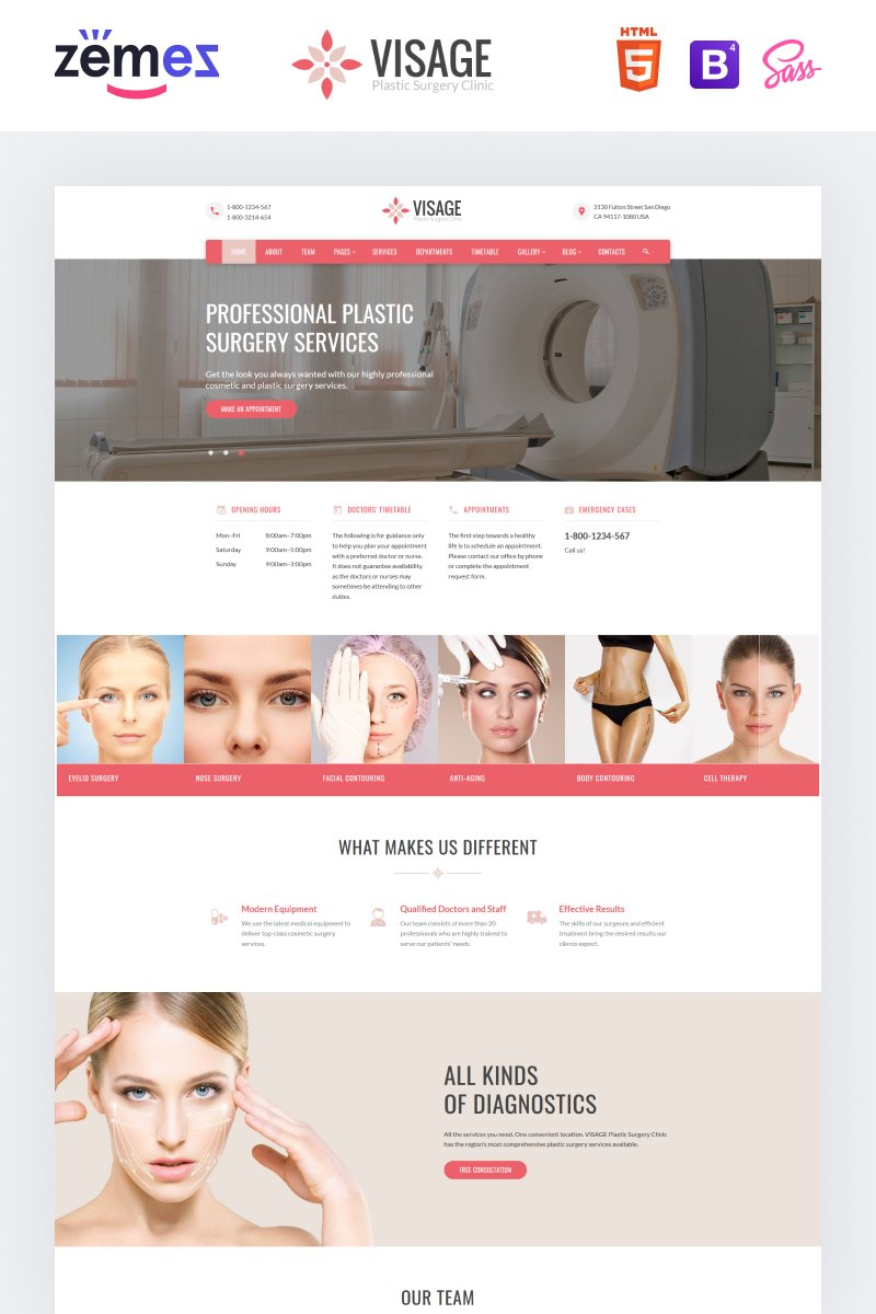 """Visage - Plastic Surgery Clinic"" Responsive Website template №61232"