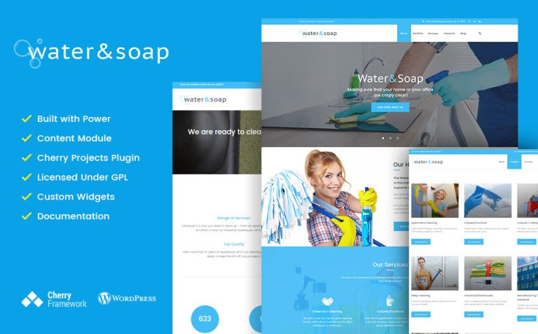 Water And Soap - Cleaning Service Company WordPress Theme New Screenshots BIG
