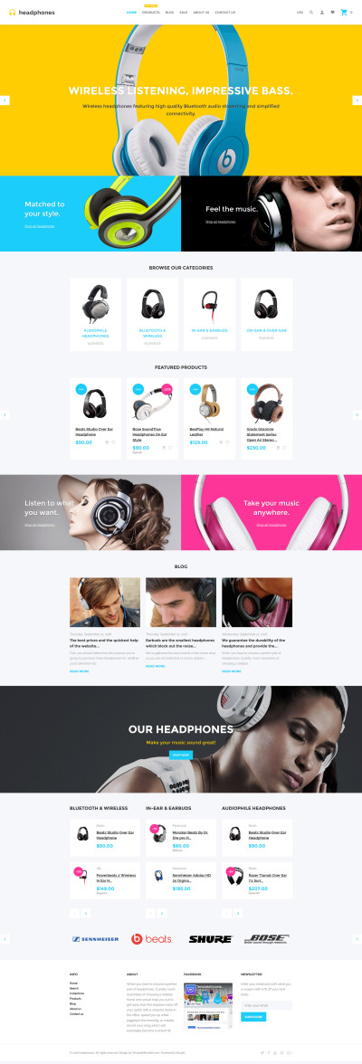 Music Store Responsive Shopify模板