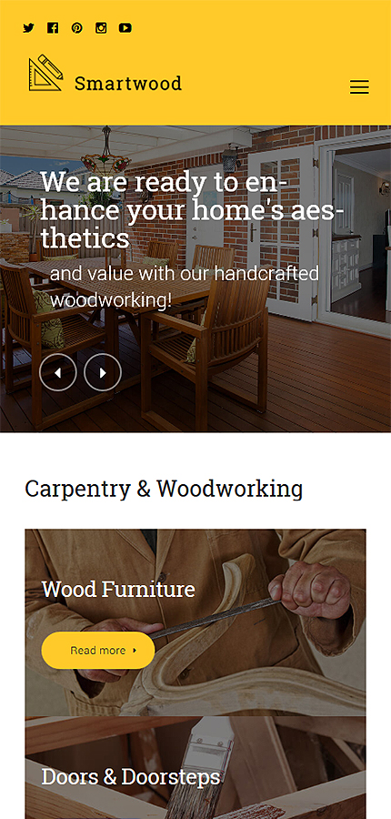 Template #61365 Wood Home WordPress Themes - Smartphone Layout 1