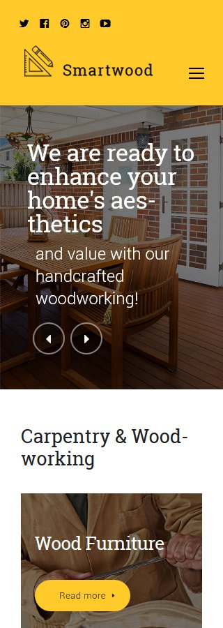 Template #61365 Wood Home WordPress Themes - Smartphone Layout 2
