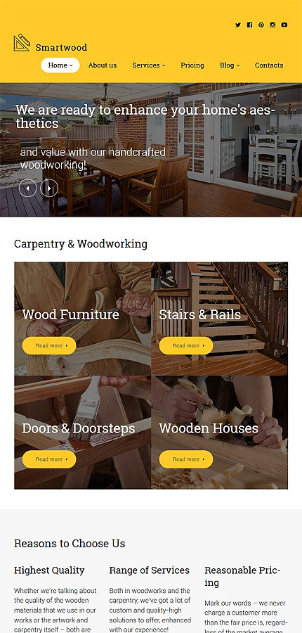 Template #61365 Wood Home WordPress Themes - Tablet Layout