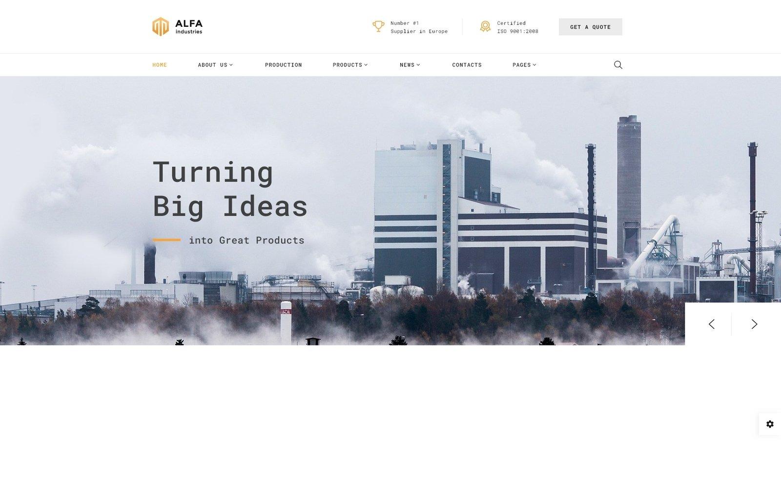 """Alfa Industries - Heavy Industries Multipage"" - адаптивний Шаблон сайту №61397"
