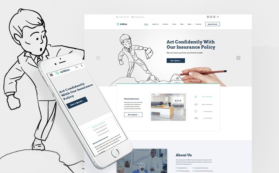 insurance risk template  Insurance Company Website Template